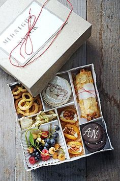 Midnight snack box for the bride & grooms hotel room. Graze Box, Wedding Snacks, Midnight Snacks, Snack Box, Food Platters, Bento Box, Food Packaging, Food Gifts, Food Presentation