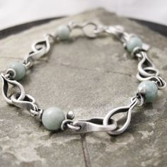 Handmade Sterling Silver Link Bracelet with Turquoise.