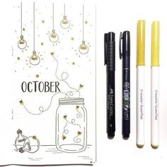 Bullet journal monthly layout, October layout, firefly doodle. @theletterlingo