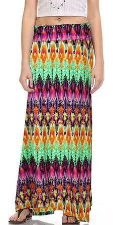 d148f53257 Women's Rayon Totem Tribal Printed Long Maxi Skirt for $14.50 Stripped Maxi  Skirts, Long Maxi