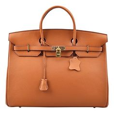 Ainifeel 40cm Oversized Padlock Business Handbags Office Handbags (40cm(golden Hardware), Brown)