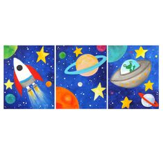 Space themed Nursery Decor!    Solar System Art SPACE ART PRINTS Three 8x10's Space by nJoyArt