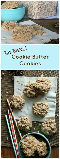 No Bake Cookie Butter Cookies. Super easy no bake cookies with chewy oatmeal and all the Cookie Butter flavor you could ever want.