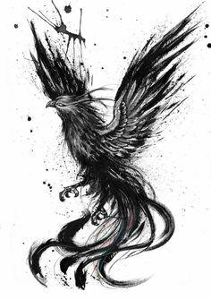 Phoenix ink drawing by Doriana Popa Phoenix ink drawing by . - Phoenix ink drawing by Doriana Popa Phoenix ink drawing by Doriana Popa - Kunst Tattoos, Bild Tattoos, Body Art Tattoos, Small Tattoos, Sleeve Tattoos, Tattoos For Guys, Cool Tattoos, Ear Tattoos, Tattoo Ink