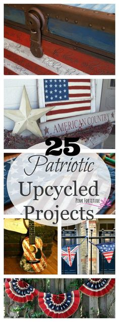 The 4th of July is right around the corner. I've hand-picked 25 pretty freakin awesome patriotic upcycled projects from the most talented and creative bloggers on the net. Many of these projects even have a cool backstory. These items were headed to the landfill or in attics from childhood and are now the centerpiece of a celebration worthy of the red, white and blue. What do you have planned for the 4th of July holiday?