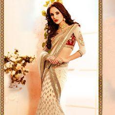 Light Beige Net Lehenga Style Saree with Blouse