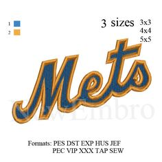 New York Mets logo embroidery design embroidery pattern 3 sizes by NewEmbro, $2.99 USD