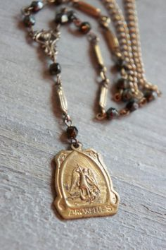 The Archangel-Vintage assemblage necklace vintage angel medal vintage watch chain assemblage jewelry-by French Feather Designs
