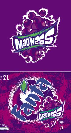 Naming, logo and label adaptation for the launch of new Fanta Madness (grape flavor). Client: Coca-Cola Romania