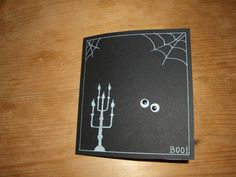 Halloween invitation made with black carton paper+White pen+mobile eyes