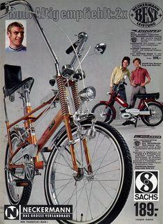 """1968  Der große Boom in Deutschland begann mit dem High-Riser """"Bonanza"""" von Kynast der über das Versandhaus Neckermann verkauft wurde. Ausgestattet war das Bonanzarad mit einem Bananensattel mit Rückenlehne, geteilten Lenkerstangen, Fake-Federn an der vorderen Gabel und 3-Gang Fichtel & Sachs Torpedo Knüppelschaltung."""