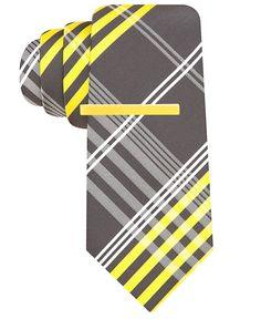 Alfani RED Tie, Open Plaid with Neon Tie Bar - Ties - Men - Macy's