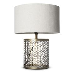 open metal circle pattern table lamp.