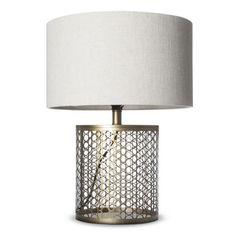 open metal circle pattern table lamp.