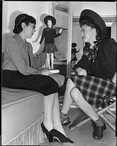 """Edith Head with Ginger Rogers and her fashion doll from """"The Major & the minor"""" 1942"""