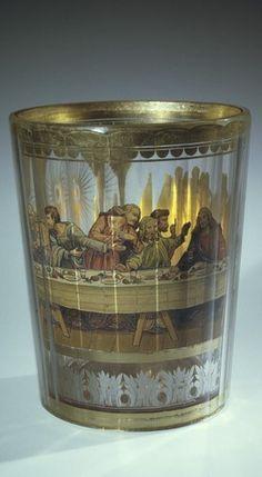 Beaker Maker(s) Pohl, Joseph M. Gold Glass, Glass Art, Canteen Bottle, Bohemia Glass, Corning Museum Of Glass, Antique Bottles, Leaded Glass, Shot Glass, Candle Holders