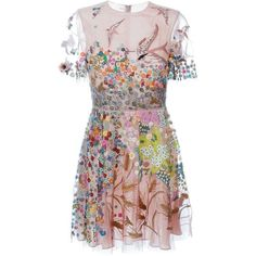 Valentino floral embroidered dress ($13,070) ❤ liked on Polyvore featuring dresses, vestidos, valentino, платья, pattern dress, round neck dress, embroidery dress, patterned skater skirt and skater skirts