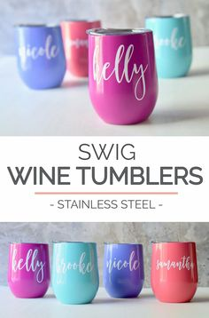 These swig stemless wine glasses with a lid personalized with the name of your choice are a unique wedding favor keepsake to your bridesmaids & maid of honor or gift to a friend to keep your beverage COLD. This personalized wine glass tumbler is a stylish way of giving a gift or simply saying thank you to someone you love.  - Details - - This listing is for 1 stemless colored stainless steel wine glass tumbler (personalized or plain)  - Your choice of font color (colors may be seen in las...