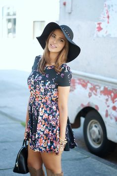 Gumboot Glam: Floral Mini, Hat, Over the Knee Boots