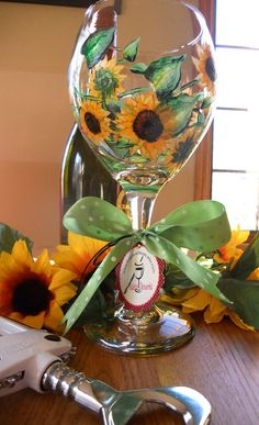 Hand Painted Sunflower Wine Glass by PaletteArtWorks on Etsy, $24.00