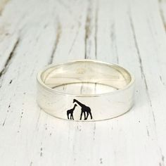 Mama Giraffe engraving ring/ 6mm925 Sterling Silver by NaosJewel