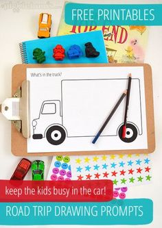 Loved this one- JB Road Trip Drawing Prompts - free printables to keep the kids buys in the car