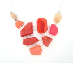 Coral statement necklace with genuine coral and sunstone on sterling silver. Geometric jewelry, handmade, one of a kind statement jewelry