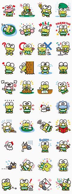 Keroppi de Donut Pond es un artista en natación estilo libre pero no tanto en estilo rana... Unos stickers perfectos para cualquier chat.