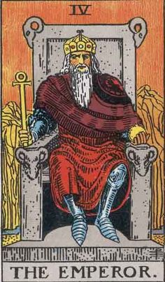 The Emperor. Strong. Confident. Stable. Prioritises oneself to help others.  [Rider Waite Tarot Major Arcana]