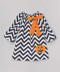 Look at this #zulilyfind! Black & Orange Chevron Pumpkin Dress - Infant, Toddler & Girls by Miss Fancy Pants #zulilyfinds