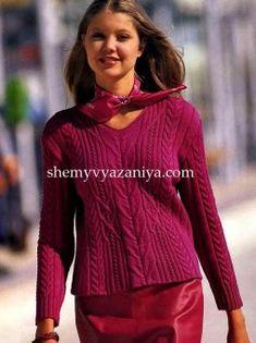 Пуловер с косами и V-образной горловиной