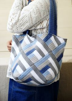 Summer crochet tote bag cotton tote bag geometrical by zolayka