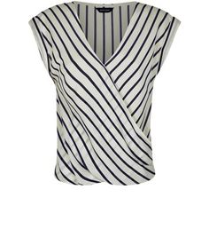 White Roll Sleeve Stripe Wrap Top - New Look for under 20 Euros