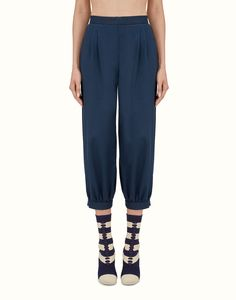 FENDI TROUSERS - Pants in blue cotton drill