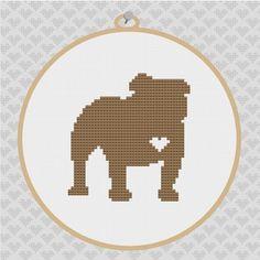 English Bulldog Silhouette Cross Stitch Pattern by kattuna on Etsy, $3.50