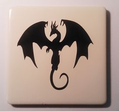 Dragon vinyl tile coaster. Tile Coasters, Home Deco, Dragon, Handmade Gifts, Creative, Crafts, Ideas, Art, Kid Craft Gifts