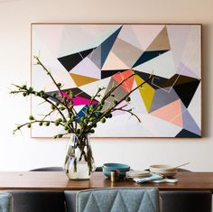 Modern dining room l Geometric art l Fig branch l Contemporary styling l Reno Rumble Week 4 Full House Reveal l Photo Highlights Toile Design, Tableau Design, Interior Photo, Interior Styling, Interior Design, Artwork Prints, Wall Prints, Reno Rumble, Photos Encadrées