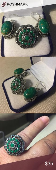 """Pretty green onyx and copper malachite set Green omicron ring marcasite design artisan handcrafted size 8 silver inlay to protect stones and prevent tarnish with copper malachite earrings approximately 1""""1/2 long stamped 925 silver inlay Nwot Jewelry Rings"""