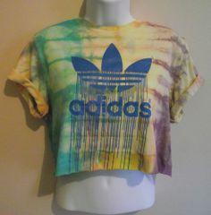 VINTAGE ADIDAS Crop Top T Shirt Blouse 90s Tie Dye Acid Wash Huff  Retro S 8 10