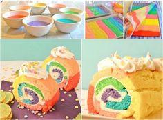 Rainbow Swiss Roll Cake