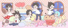 Chichi, Goku, Gohan, Videl, Bulma, and Vegeta