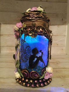 Excited to share this item from my #etsy shop: Handmade silhouette 8 inch beautiful fairy jar . T Lights, String Lights, Lilac, Purple, Pink, Fairy Jars, Power Colors, Color Changing Lights, Beautiful Fairies
