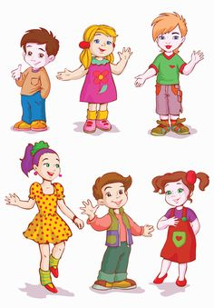 Different cartoon kids design vector 02