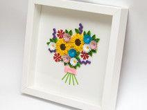 Bukiet kwiatów z papieru, Quilling, Obrazek
