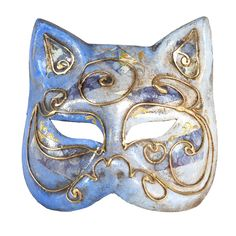 Blue cat mask with gold decor. Handmade of paper machee in Venice Italy. From Balocoloc Venetian Masks.