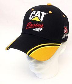 CAT Racing  31 NASCAR Hat Jeff Burton Flag Sports Mens Black Yellow Baseball  Cap  1a695f3f01af