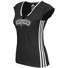adidas San Antonio Spurs Ladies Fan Gear Slit V-Neck Premium T-Shirt - Black