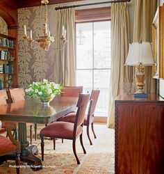 Decor, Dining Chairs, Country Dining Rooms, Dining, Dining Room, Kitchen Dining Room, French Country Dining Room, Home Decor, Built In Bookcase