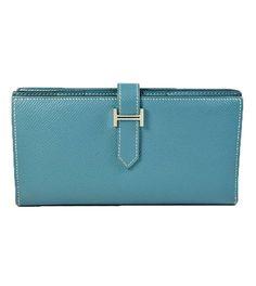 Hermès Bearn Epsom Wallet in Blue Jean Stamp R