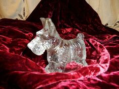 Antique Scottish Terrier, Scottie Dog Clear Glass Candy Container- Old Dog Candy Container- Terrier Dog Candy Container